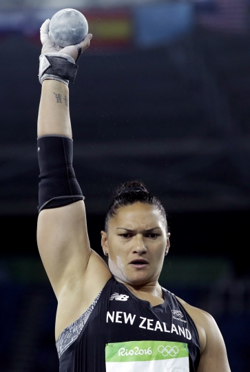 FILE - In this Aug. 12, 2016, file photo, New Zealand's Valerie Adams competes in the final of the women's shot put during the athletics competitions of the 2016 Summer Olympics at the Olympic stadium in Rio de Janeiro, Brazil. More than 6,600 athletes and officials from across the world will converge on the Gold Coast for the 21st edition of the Commonwealth Games, the quadrennial multi-sports event for 71 countries and territories of the British Commonwealth. (AP Photo/Matt Dunham,File)