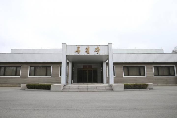 North Korea's Tongilgak building, the meeting place for the high-level talks between two Koreas, is seen at the northern side of the Panmunjom in North Korea, Thursday, March 29, 2018. High-level officials from North and South Korea began talks at a border village Thursday to prepare for an April summit between their leaders amid a global diplomatic push to resolve the standoff over the North's nuclear program. (Korea Pool via AP)