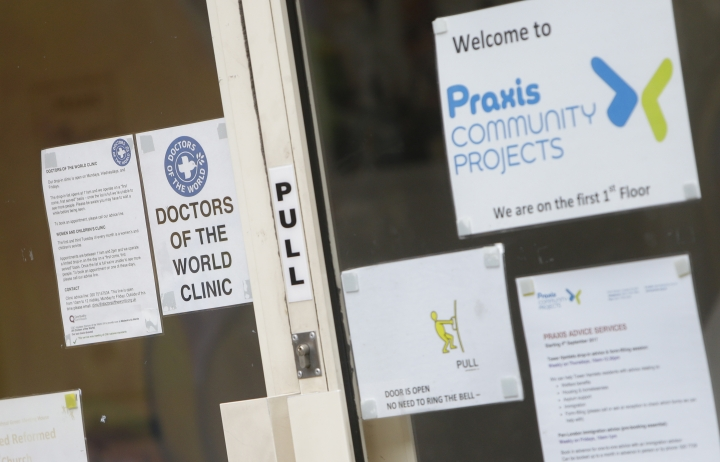 In this photo taken Friday, March 23, 2018 showing a general view of a surgery in east London. To track down refugees in Britain who may have broken immigration rules, the government is controversially turning to the doctors who treat them for information, although data sharing could make migrants nervous about getting medical attention. (AP Photo/Alastair Grant)