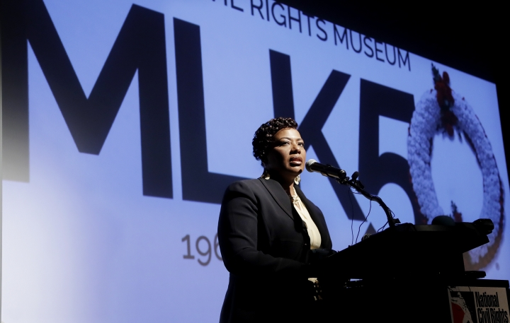 Rev. Bernice King, daughter of the late civil rights leader Rev. Martin Luther King Jr., speaks at the National Civil Rights Museum, Monday, April 2, 2018, in Memphis, Tenn. The museum was formerly the Lorraine Motel, where Rev. Martin Luther King Jr. was assassinated April 4, 1968. (AP Photo/Mark Humphrey)