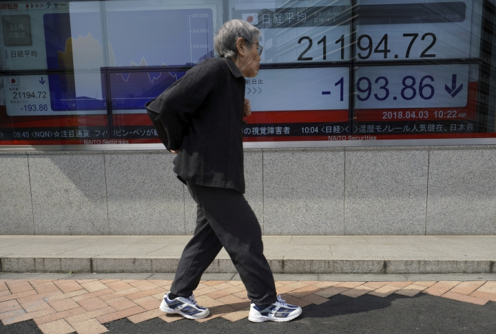 A woman walks past an electronic stock board showing Japan's Nikkei 225 index at a securities firm in Tokyo, Tuesday, April 3, 2018. Asian stocks have fallen for a second day amid jitters about U.S.-Chinese trade tensions and mounting scrutiny of technology companies. (AP Photo/Eugene Hoshiko)
