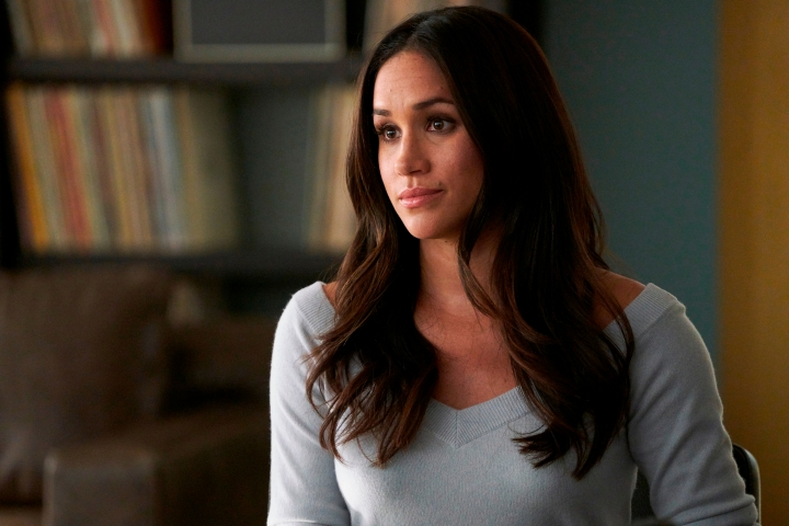 "In this file image released by USA Network, Meghan Markle appears in a scene from ""Suits."" Real life will imitate art this spring at the USA series ""Suits"" when series regular Markle bids farewell to the legal drama in a wedding - and then goes off to marry her prince in real life. (Ian Watson/USA Network via AP, File)"