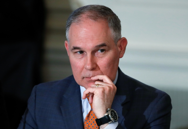 "In this Feb. 12, 2018 photo, Environmental Protection Agency Administrator Scott Pruitt attends a meeting at the White House in Washington. Trump is offering his support to the head of the Environmental Protection Agency who is at the center of swirling ethics questions. Two administration officials confirmed that the president called Scott Pruitt on Monday and told him that ""we've got your back."" (AP Photo/Carolyn Kaster)"