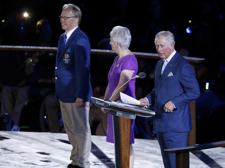 Britain's Prince Charles, right, officially declares the 21st Commonwealth Games open at Carrara Stadium during the opening ceremony on the Gold Coast, Australia, Wednesday, April 4, 2018. (AP Photo/Mark Schiefelbein)