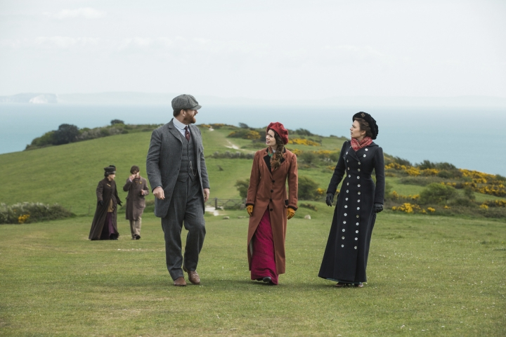 "This image released by Starz shows Matthew MacFadyen, from left, Philippa Coulthard and Hayley Atwell in a scene from the four-part miniseries, ""Howards End,"" written by Academy Award winner Kenneth Lonergan. The miniseries, based on E.M. Forster's classic novel, premieres on Sunday. (Laurie Sparham/Starz via AP)"