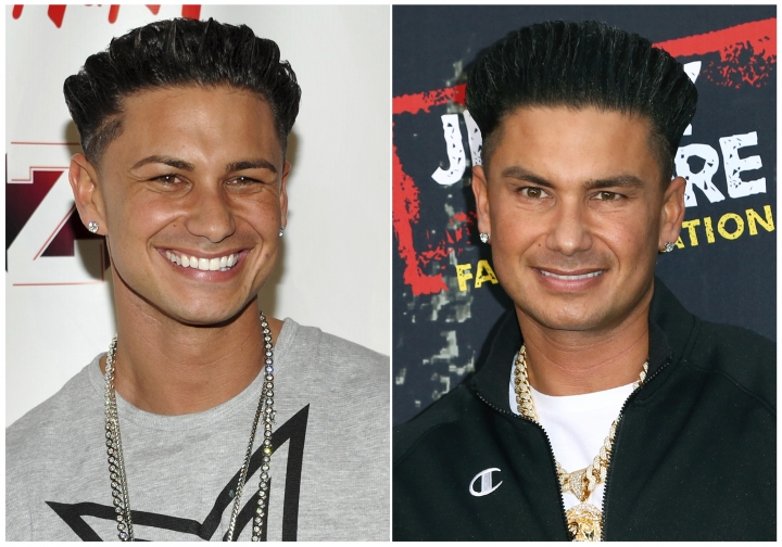 "This combination photo shows Paul ""Pauly D"" DelVecchio from the television show ""Jersey Shore"", in 2010, left, and in 2018. The cast of the popular MTV series is back in ""Jersey Shore: Family Vacation,"" premiering Thursday, April 5 at 8p.m. on MTV. (AP Photo)"
