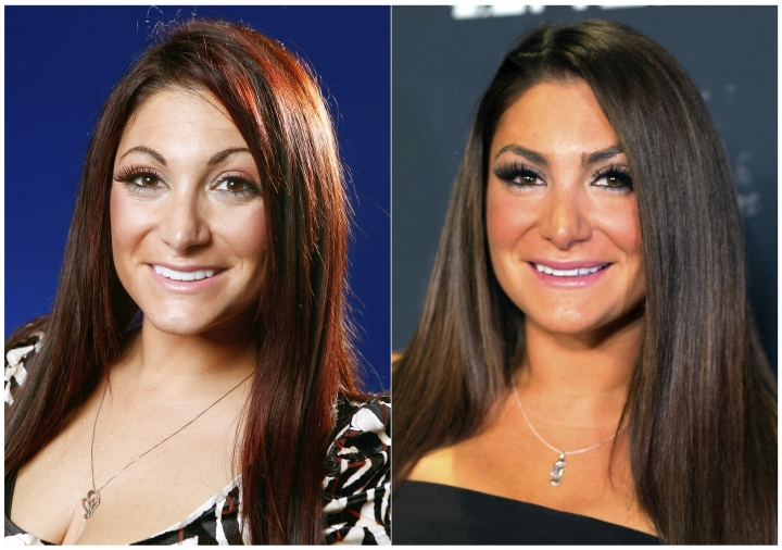 """This combination photo shows Denna Cortese from the television show """"Jersey Shore"""", in 2012, left, and in 2018. The cast of the popular MTV series is back in """"Jersey Shore: Family Vacation,"""" premiering Thursday, April 5 at 8p.m. on MTV. (AP Photo)"""