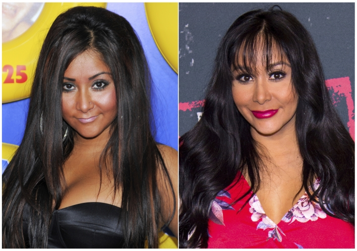 """This combination photo shows Nicole Polizzi from the television show """"Jersey Shore"""", in 2010, left, and in 2018. The cast of the popular MTV series is back in """"Jersey Shore: Family Vacation,"""" premiering Thursday, April 5 at 8p.m. on MTV. (AP Photo)"""