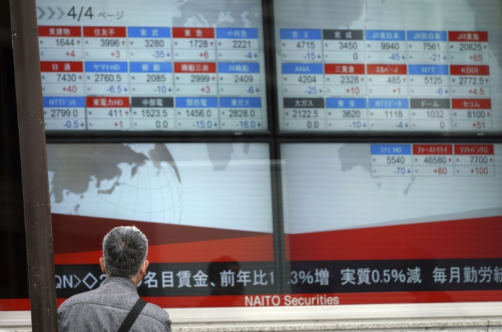A man looks at an electronic stock board showing Japan's Nikkei 225 index at a securities firm in Tokyo Friday, April 6, 2018. Most Asian stock markets slipped Friday after the Trump administration threatened yet more tariffs on Chinese imports, adding to investor fears of a brewing trade battle between the world's two biggest economies. (AP Photo/Eugene Hoshiko)