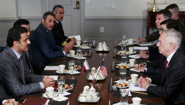 Defense Secretary Jim Mattis, right, and Emir of Qatar Sheikh Tamim bin Hamad al-Thani, left, participate in a bilateral meeting at the Pentagon, Monday, April 9, 2018. (AP Photo/Carolyn Kaster)
