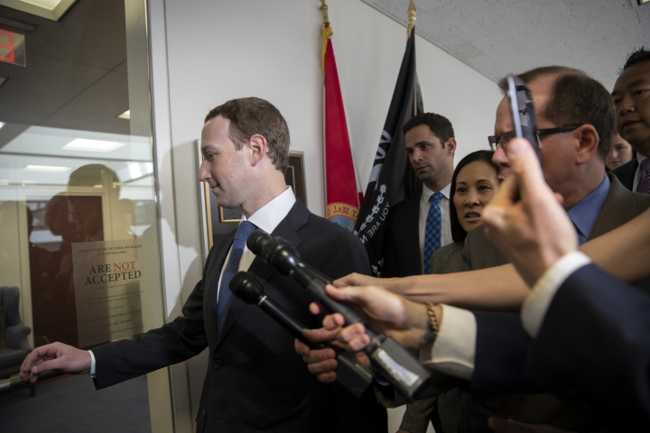 Facebook CEO Mark Zuckerberg arrives on Capitol Hill in Washington, Monday, April 9, 2018, to meet with Sen. Bill Nelson, D-Fla., the ranking member of the Senate Commerce Committee. Zuckerberg will testify Tuesday before a joint hearing of the Commerce and Judiciary Committees about the use of Facebook data to target American voters in the 2016 election. (AP Photo/J. Scott Applewhite)