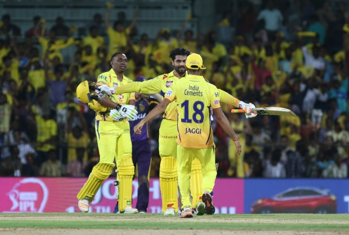 Chennai Super Kings players celebrate their win over Kolkata Knight riders in their VIVO IPL cricket T20 match in Chennai, India, Tuesday, April 10, 2018. (AP Photo/Parthi Bhan)