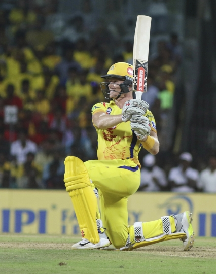 Sam billings of Chennai Super Kings bats during the VIVO IPL cricket T20 match against Kolkata Knight Riders in Chennai, India, Tuesday, April 10, 2018. (AP Photo/Parthi Bhan)