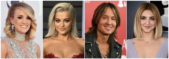 This combination photo shows, from left, Carrie Underwood, Bebe Rexha, Keith Urban and Julia Michaels who will perform at the Academy of Country Music Awards on Sunday, April 15 in Las Vegas. (AP Photo)