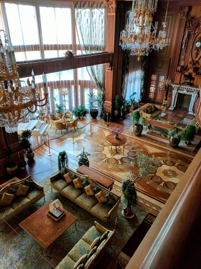 This Sept. 22, 2017 photo shows a seating area in the Mezhyhirya Residence located in the village of Novi Petrivtsi, north of Kiev, Ukraine. The massive estate was the home of former President Viktor Yanukovych, who fled the country during the 2014 Ukrainian revolution. It's now open to tourists wanting a glimpse of Yanukovych's opulent lifestyle. (AP Photo/Nicole Evatt)