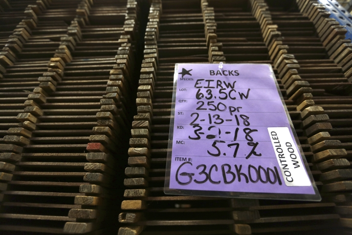 In this Friday, March 23, 2018 photo, rosewood is stacked in storage slots at C. F. Martin and Co., in Nazareth, Pa. Since new trade rules took effect in 2017, guitar makers have complained about long delays in getting permits to import rosewood and export finished instruments that contain it. (AP Photo/Jacqueline Larma)