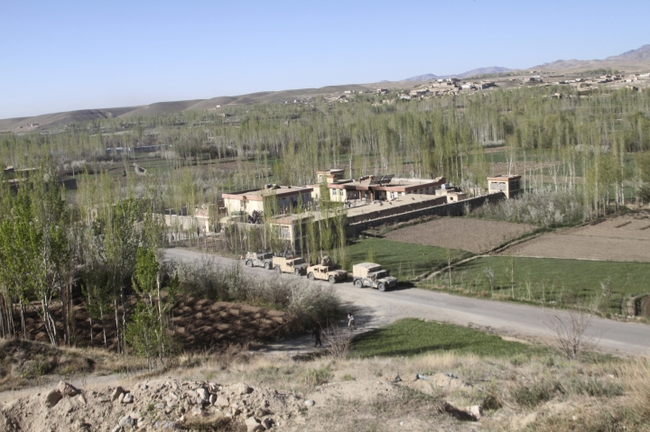 A general view of Khuja Omari district compound is seen after a deadly Taliban attack in Ghazni, Afghanistan, Thursday, April 12, 2018. The Taliban claimed responsibility for a blistering attack early Thursday morning on a government compound in Afghanistan's central province of Ghazni that killed at least 15 members of the security forces. (AP Photos/Rahmatullah Nikzad)