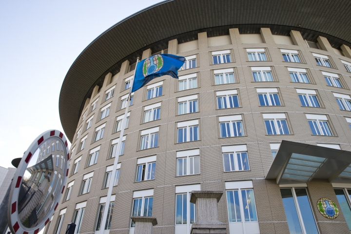 In this Wednesday, March 21, 2018, image the headquarters of the Organization for the Prohibition of Chemical Weapons (OPCW) are seen in The Hague, Netherlands. The OPCW is holding a special executive council meeting Wednesday April 4, 2018, which will likely discuss the nerve agent attack on a former Russian spy and his daughter last month. (AP Photo/Peter Dejong)