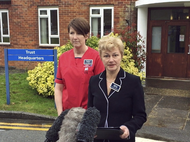 """Dr Christine Blanshard, Medical Director, and Lorna Wilkinson, director of nursing, left, make a statement outside the District Hospital in Salisbury, England, Tuesday April 10, 2018, giving an update on the condition of nerve agent poison victims Yulia and Sergei Skripal. Yulia Skripal has been discharged from hospital Tuesday, """"This is not the end of her treatment but marks a significant milestone,"""" said Dr. Christine Blanshard, and her Russian father former double agent Sergei Skripal remains in hospital. (Ben Mitchell/PA via AP)"""