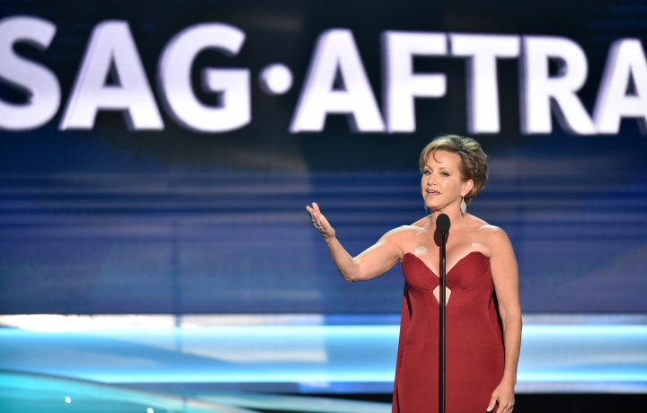 FILE - In this Jan. 21, 2018 file photo, SAG-AFTRA President Gabrielle Carteris speaks at the 24th annual Screen Actors Guild Awards in Los Angeles. The Screen Actors Guild is calling on an end to auditions in private hotel rooms and residences in the wake of the Harvey Weinstein scandal. SAG-AFTRA on Thursday issued new guidelines that expand the guild's code of conduct in an effort to curtail sexual harassment in the entertainment industry. (Photo by Vince Bucci/Invision/AP, FIle)