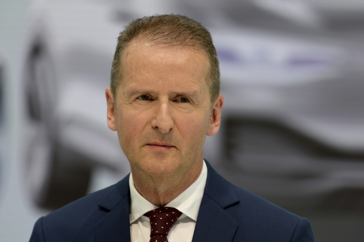 Herbert Diess, new CEO of Volkswagen addresses the media during a press conference in Wolfsburg, Germany, Friday, April 13, 2018. (Swen Pfoertner/dpa via AP)