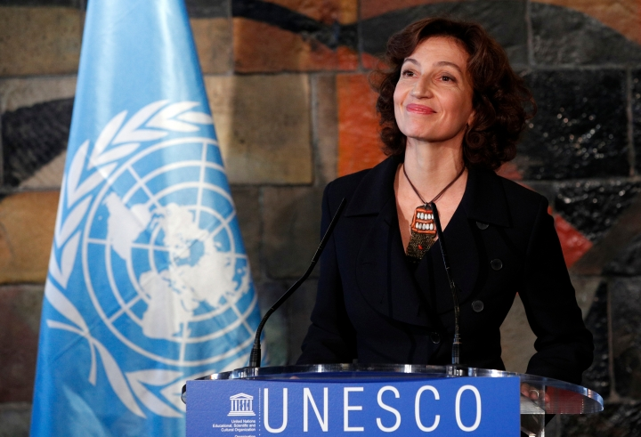FILE - In this Friday, Nov. 10, 2017 file picture, UNESCO'S new elected director-general France's Audrey Azoulay attends a press conference at the United Nations Educational, Scientific and Cultural Organisation headquarters in Paris, France. Diplomats at UNESCO are hailing a possible breakthrough on longstanding Israeli-Arab tensions at the U.N. cultural agency. (AP Photo/Christophe Ena, File)