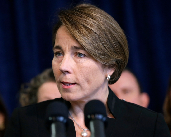 FILE - In this Jan. 31, 2017 file photo, Massachusetts Attorney General Maura Healey takes questions from reporters during a news conference in Boston. The Massachusetts Supreme Judicial Court ruled Friday, April 13, 2018, that Exxon Mobil must hand over documents for Healey's probe into whether the company misled investors and consumers about what it knew about the link between fossil fuels and climate change. (AP Photo/Steven Senne, File)