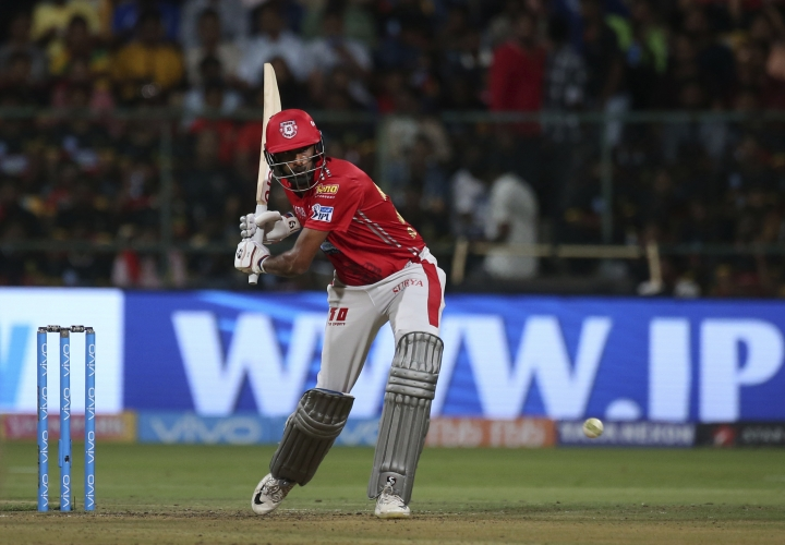 Kings XI Punjab captain Ravichandran Ashwin bats during their VIVO IPL Twenty20 cricket match against Royal Challengers Bangalore in Bangalore, India, Friday, April 13, 2018. (AP Photo/Aijaz Rahi)