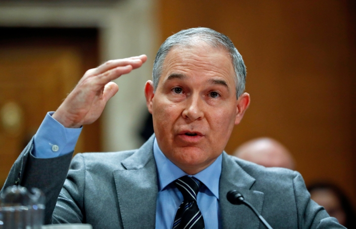 FILE - In this Jan. 30, 2018, file photo, Environmental Protection Agency Administrator Scott Pruitt testifies before the Senate Environment Committee on Capitol Hill in Washington. The Republican-led House oversight committee is demanding interviews with five close aides to embattled Pruitt, including his security chief. (AP Photo/Pablo Martinez Monsivais, File)