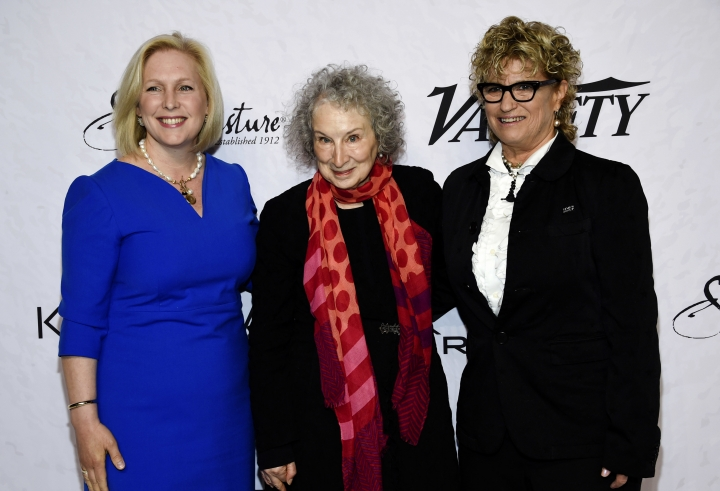 Sen. Kirsten Gillibrand, left, honoree Margaret Atwood and Variety co-editor-in-chief Claudia Eller pose together at Variety's Power of Women: New York event at Cipriani Wall Street on Friday, April 13, 2018, in New York. (Photo by Evan Agostini/Invision/AP)