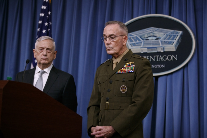 Defense Secretary Jim Mattis, joined by Joint Chiefs Chairman Gen. Joseph Dunford, speak at the Pentagon, Friday, April 13, 2018, on the U.S. military response, along with France and Britain, to Syria's chemical weapon attack on April 7.​ (AP Photo/Carolyn Kaster)