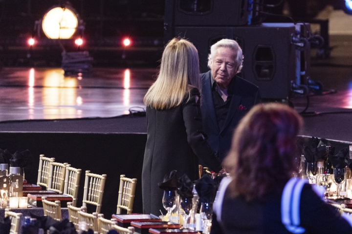 Robert Kraft is seen at the 2018 Rock and Roll Hall of Fame induction ceremony at Cleveland Public Auditorium, Saturday, April 14, 2018, in Cleveland. (Photo by Michael Zorn/Invision/AP)