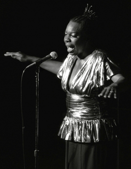 FILE - In this June 27, 1985, file photo, Nina Simone performs at Avery Fisher Hall in New York. Simone will be inducted into the Rock and Roll Hall of Fame on April 14, 2018 in Cleveland, Ohio. (AP Photo/Rene Perez, File)