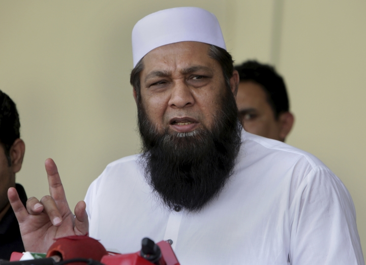 Pakistan cricket chief selector Inzamam-ul-Haq speaks during a press conference to announce the test squad for upcoming tours, at Gaddafi Stadium in Lahore, Pakistan, Sunday, April 15, 2018. Opening batsman Fakhar Zaman and Imam-ul-Haq were among four uncapped players named in Pakistan's 16-man test squad for next month's tours of Ireland and England. (AP Photo/K.M. Chaudary)