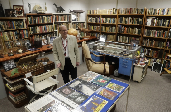 In this Thursday, April 12, 2018, photo, Center for Ray Bradbury Studies director Jonathan Eller talks about the vast trove of manuscripts, correspondence and memorabilia that science fiction-fantasy writer Ray Bradbury in Indianapolis. The Center for Ray Bradbury Studies at Indiana University-Purdue University at Indianapolis has landed a grant from the National Endowment for the Humanities to begin planning how to preserve the mammoth collection. (AP Photo/Darron Cummings)