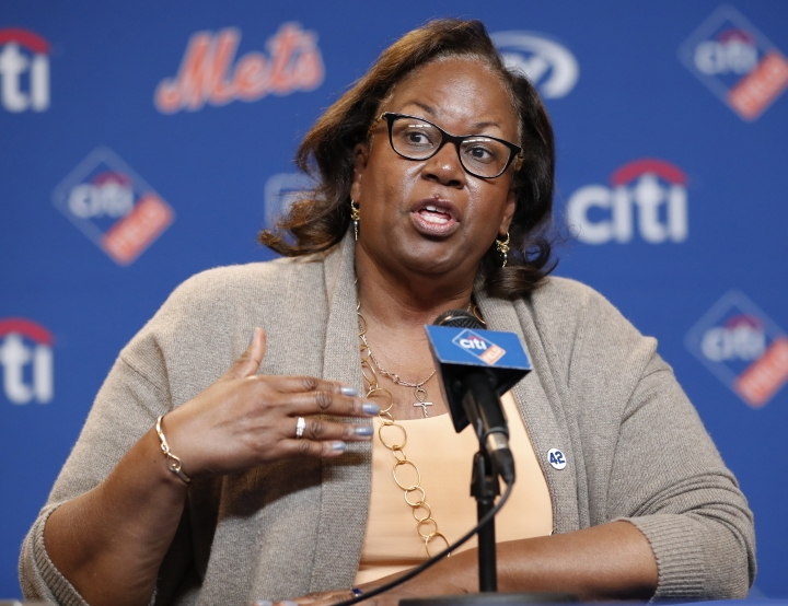 Sharon Robinson, daughter of Jackie Robinson, speaks to reporters before a baseball game between the New York Mets and the Milwaukee Brewers on Jackie Robinson Day, Sunday, April 15, 2018, in New York. (AP Photo/Kathy Willens)
