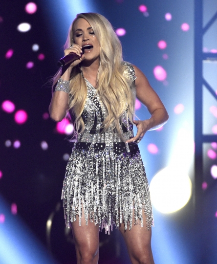 """Carrie Underwood performs """"Cry Pretty"""" at the 53rd annual Academy of Country Music Awards at the MGM Grand Garden Arena on Sunday, April 15, 2018, in Las Vegas. (Photo by Chris Pizzello/Invision/AP)"""