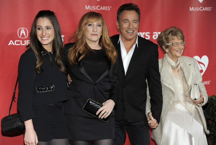 FILE - In this Feb. 8, 2013 file photo, from left, Jessica Rae Springsteen, Patti Scialfa, honoree Bruce Springsteen, and Adele Springsteen arrive at the MusiCares Person of the Year tribute honoring Bruce Springsteen in Los Angeles. Springsteen and his mom, Adele, danced to two songs Sunday, April 15, 2018, at the Wonder Bar in Asbury Park, N.J., before severe storms caused the club to lose power. They were there to see the Eddie Testa Band, reportedly one of Adele's favorite bands. Adele Springsteen turns 93 on May 4. (Photo by Chris Pizzello/Invision/AP, File)