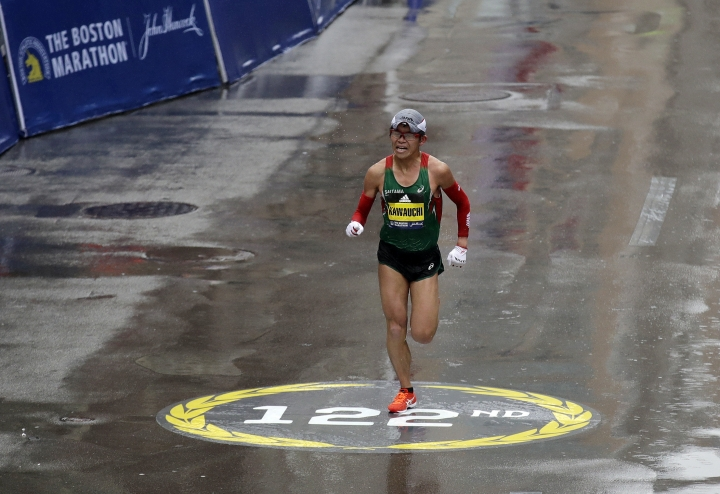 Yuki Kawauchi, of Japan, heads to the finish line to win the 122nd Boston Marathon on Monday, April 16, 2018, in Boston. He is the first Japanese man to win the race since 1987. (AP Photo/Charles Krupa