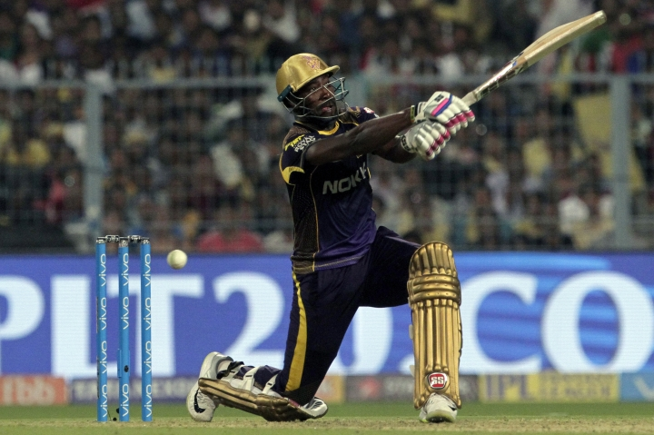 Kolkata Night Riders' Andre Russel takes a shot during VIVO IPL cricket T20 match against Delhi Daredevils in Kolkata, India, Monday, April 16, 2018. (AP Photo/Bikas Das)
