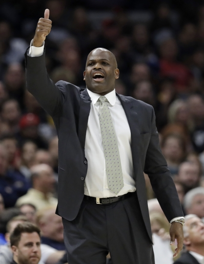 Indiana Pacers head coach Nate McMillan yells instructions to players in the second half of Game 1 of an NBA basketball first-round playoff series against the Cleveland Cavaliers, Sunday, April 15, 2018, in Cleveland. (AP Photo/Tony Dejak)