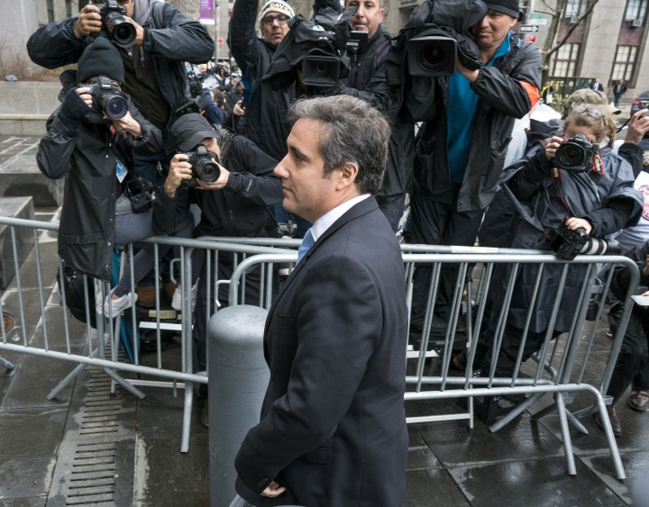 Michael Cohen, President Donald Trump's personal attorney, arrives for a hearing at federal court Monday, April 16, 2018, in New York. (AP Photo/Craig Ruttle)