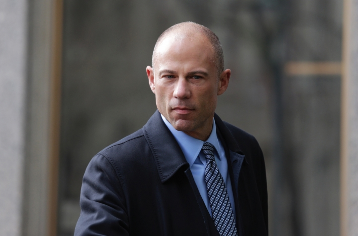 Michael Avenatti, attorney and spokesperson for adult film actress Stormy Daniels, arrives at federal court, Monday, April 16, 2018, in New York. (AP Photo/Seth Wenig)