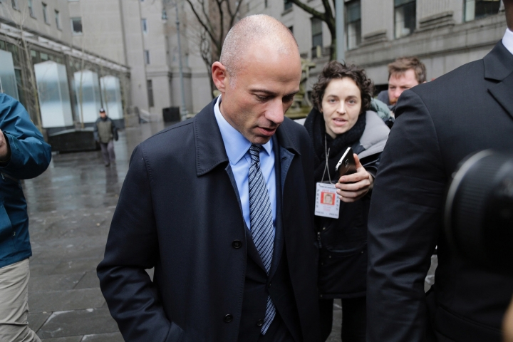 Michael Avenatti, attorney and spokesperson for adult film actress Stormy Daniels, arrives at federal court, Monday, April 16, 2018 in New York. (AP Photo/Seth Wenig)