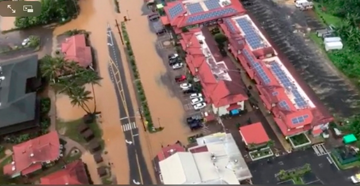 This image taken from video provided by the U.S. Coast guard shows flooding in Kauai's Hanalei Bay, Hawaii, Sunday, April 15, 2018. Hawaii Gov. David Ige issued an emergency proclamation for the island where heavy rainfall damaged or flooded dozens of homes in Hanalei, Wainiha, Haena and Anahola. (Petty Officer 3rd Class Brandon Verdura/U.S. Coast Guard via AP)