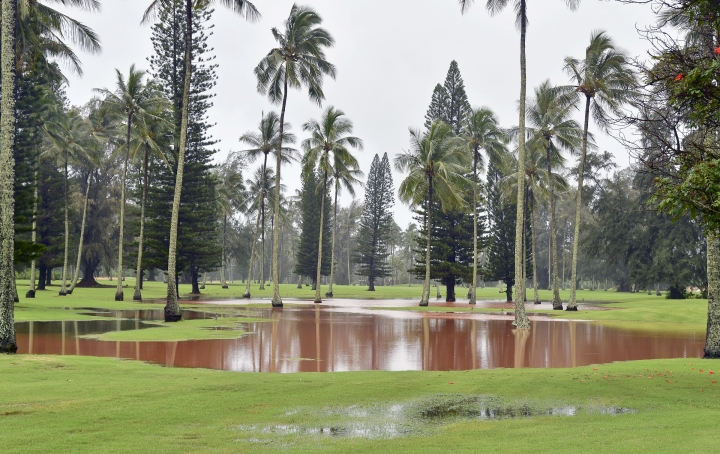 In this Sunday, April 15, 2018 photo, water floods the the Wailua Golf Course in Lihue, Hawaii, forcing the closure of the nearby Kuhio Highway. (Dennis Fujimoto/The Garden Island via AP)