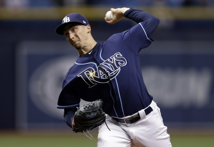 Tampa Bay Rays starting pitcher Blake Snell delivers to the Texas Rangers during the first inning of a baseball game Monday, April 16, 2018, in St. Petersburg, Fla. (AP Photo/Chris O'Meara)