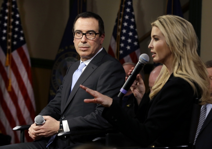 Ivanka Trump, daughter and advisor to President Donald Trump, speaks as Treasury Secretary Steven Mnuchin listens at an event on Tax Day, Tuesday, April 17, 2018, in Derry, N.H., to promote the recently passed tax cut package. (AP Photo/Elise Amendola)