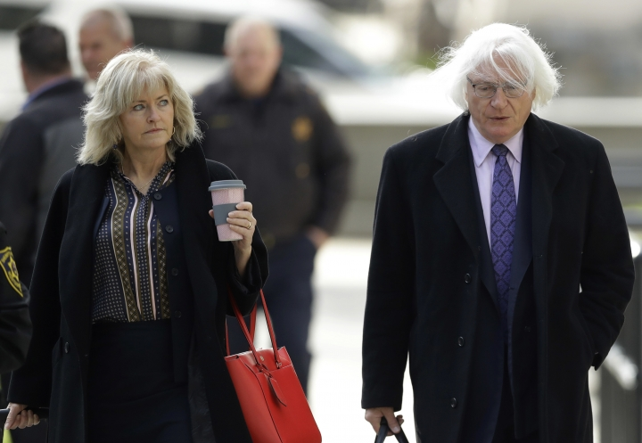 Attorneys Kathleen Bliss, left, and Tom Mesereau arrive for Bill Cosby's sexual assault trial, Tuesday, April 17, 2018, at the Montgomery County Courthouse in Norristown, Pa. (AP Photo/Matt Slocum)