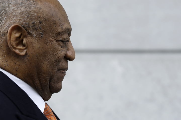 Bill Cosby arrives for his sexual assault trial, Tuesday, April 17, 2018, at the Montgomery County Courthouse in Norristown, Pa. (AP Photo/Matt Slocum)